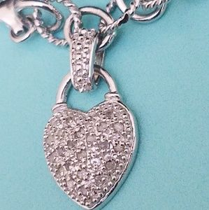 925 Sterling Silver Diamond Heart Charm Bracelet